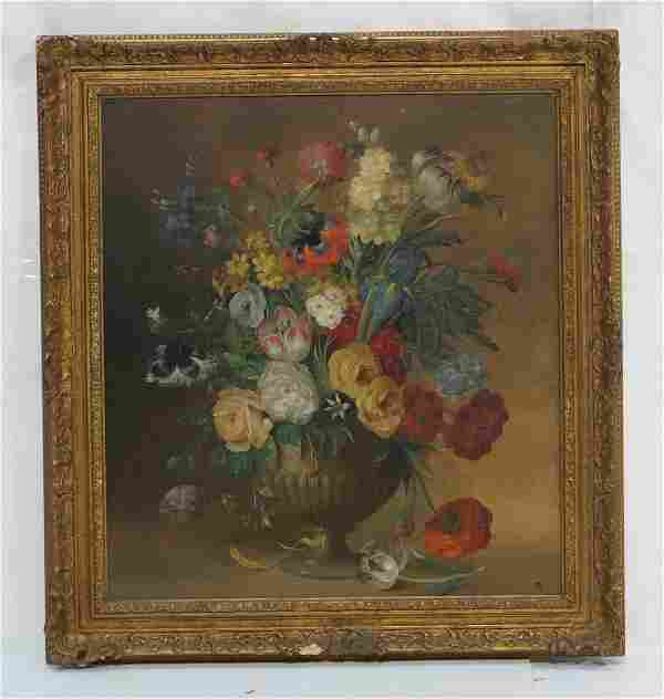 P.A. Signed Oil on Board Painting. Still Life: Fl