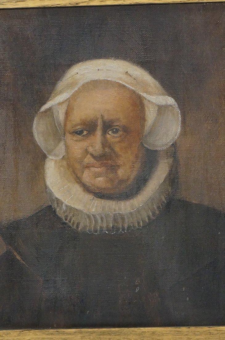 Antique Oil Painting. Portrait of Woman. Paper no