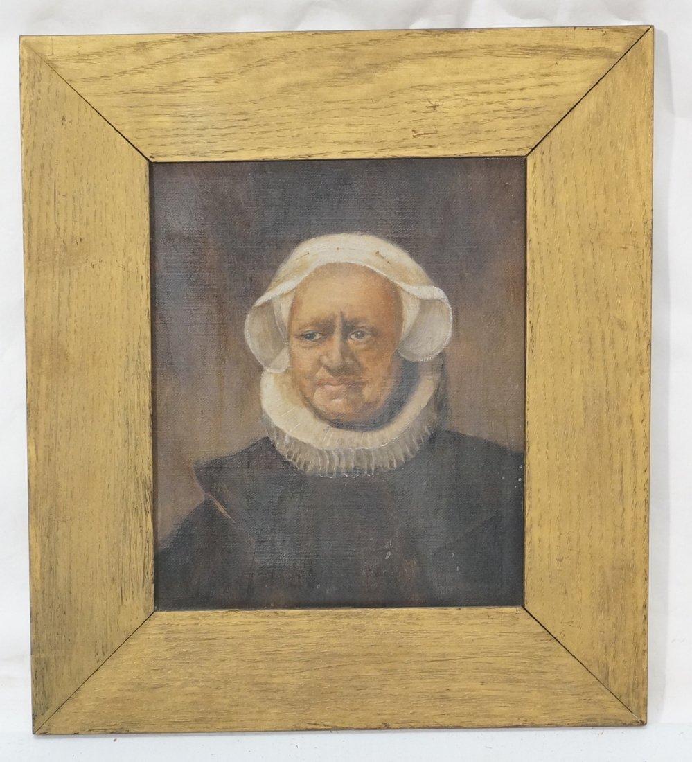 Antique Oil Painting. Portrait of Woman. Paper no - 2