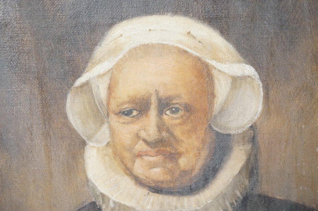 Antique Oil Painting. Portrait of Woman. Paper no - 3