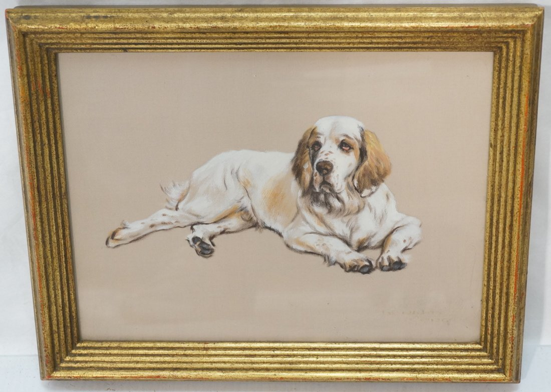 Painting on Silk of Dog. Appears to be signed or - 2