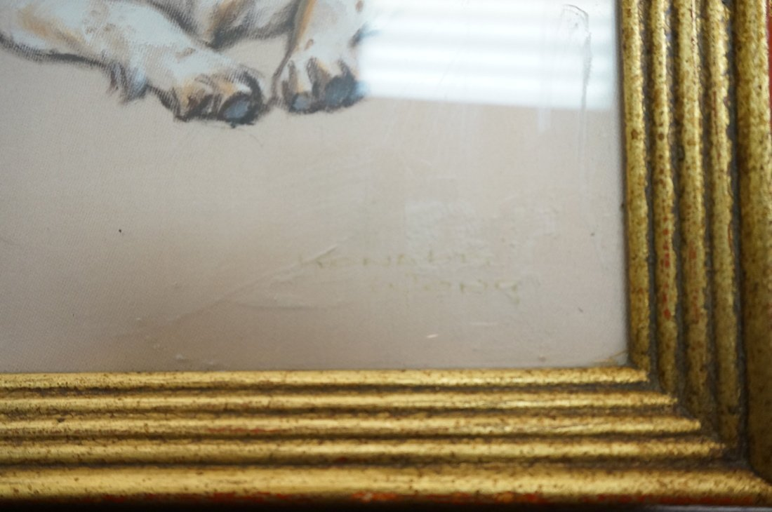 Painting on Silk of Dog. Appears to be signed or - 3