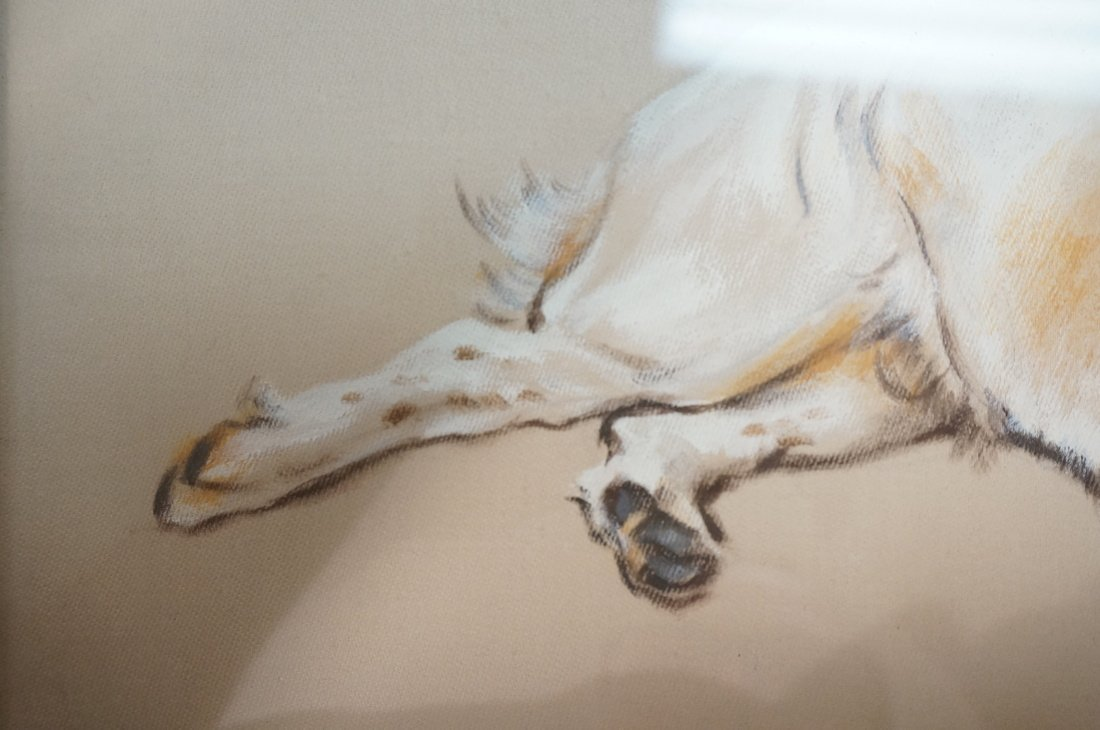Painting on Silk of Dog. Appears to be signed or - 4