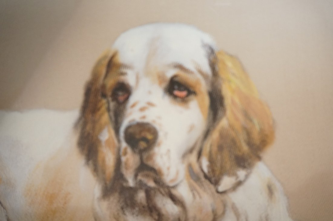 Painting on Silk of Dog. Appears to be signed or - 5