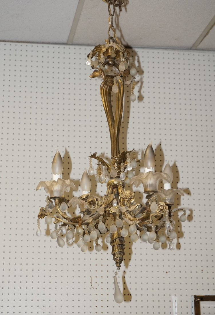 French Bronze Drape Form Chandelier.  Floral Desi