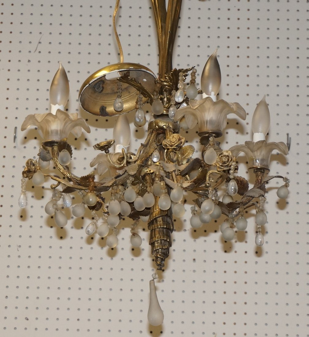 French Bronze Drape Form Chandelier.  Floral Desi - 3