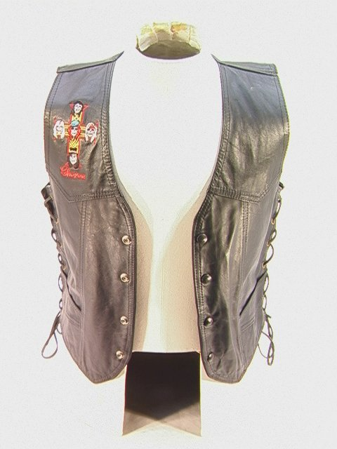 1002: GUNS N ROSES Leather Crew Band Tour Vest Side Lac