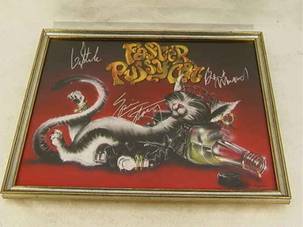 1021: FASTER PUSSYCAT Band Signed Painting Oil on Canva