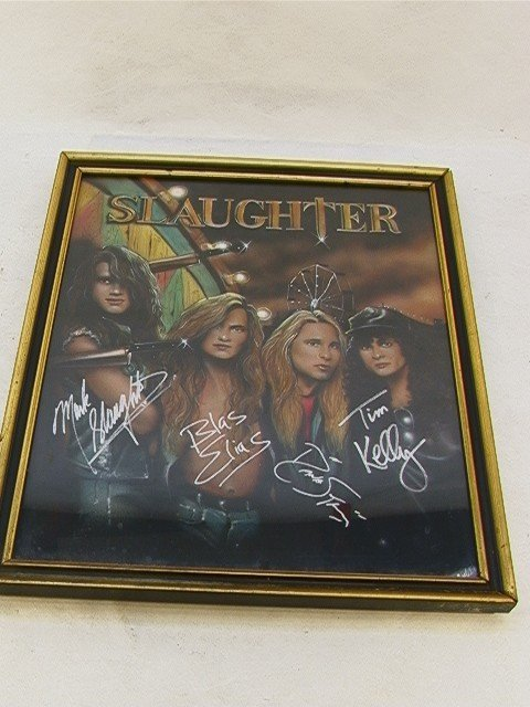 1022: SLAUGHTER Band Signed Painting Oil Autographed on