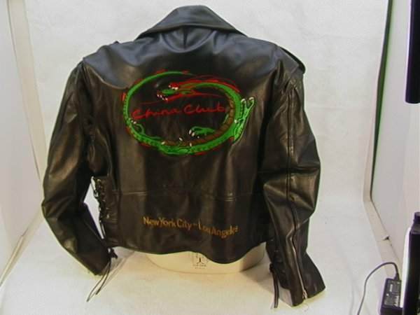 1028: CHINA CLUB Leather Biker Member Jacket. Lace up S