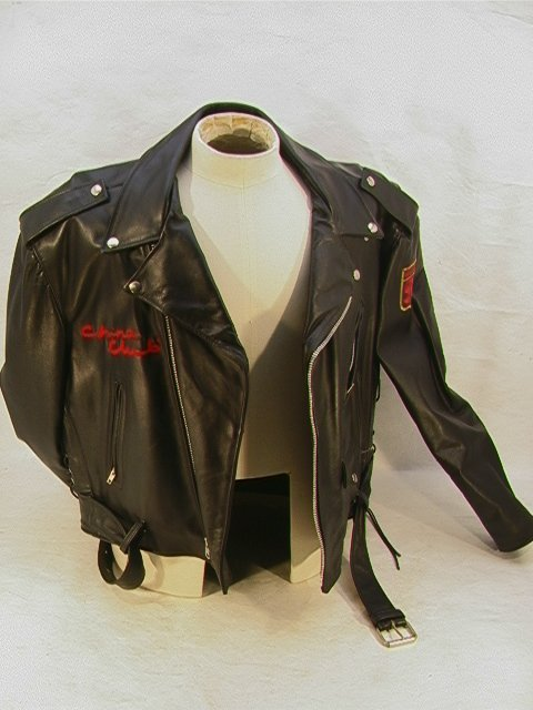1028: CHINA CLUB Leather Biker Member Jacket. Lace up S - 6