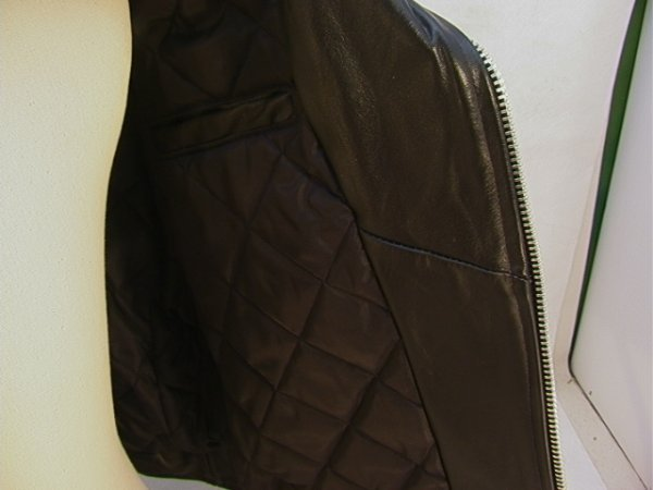 1028: CHINA CLUB Leather Biker Member Jacket. Lace up S - 8