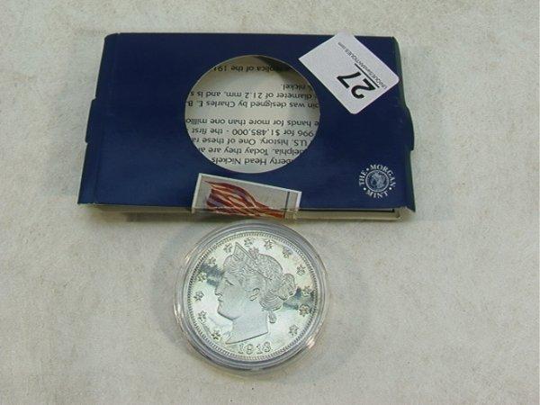 1182: Silver Copy Replica 1913 Liberty Head Nickel   Di