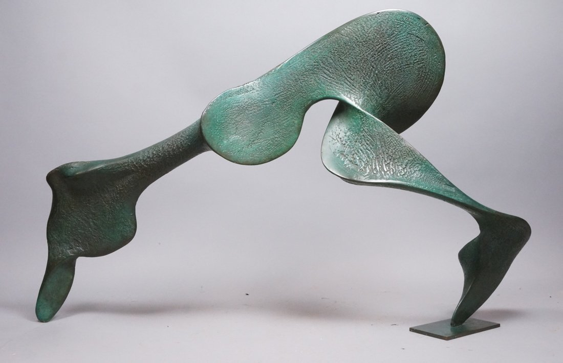 Large Bronze Henry Moore style Sculpture.  Sinuou