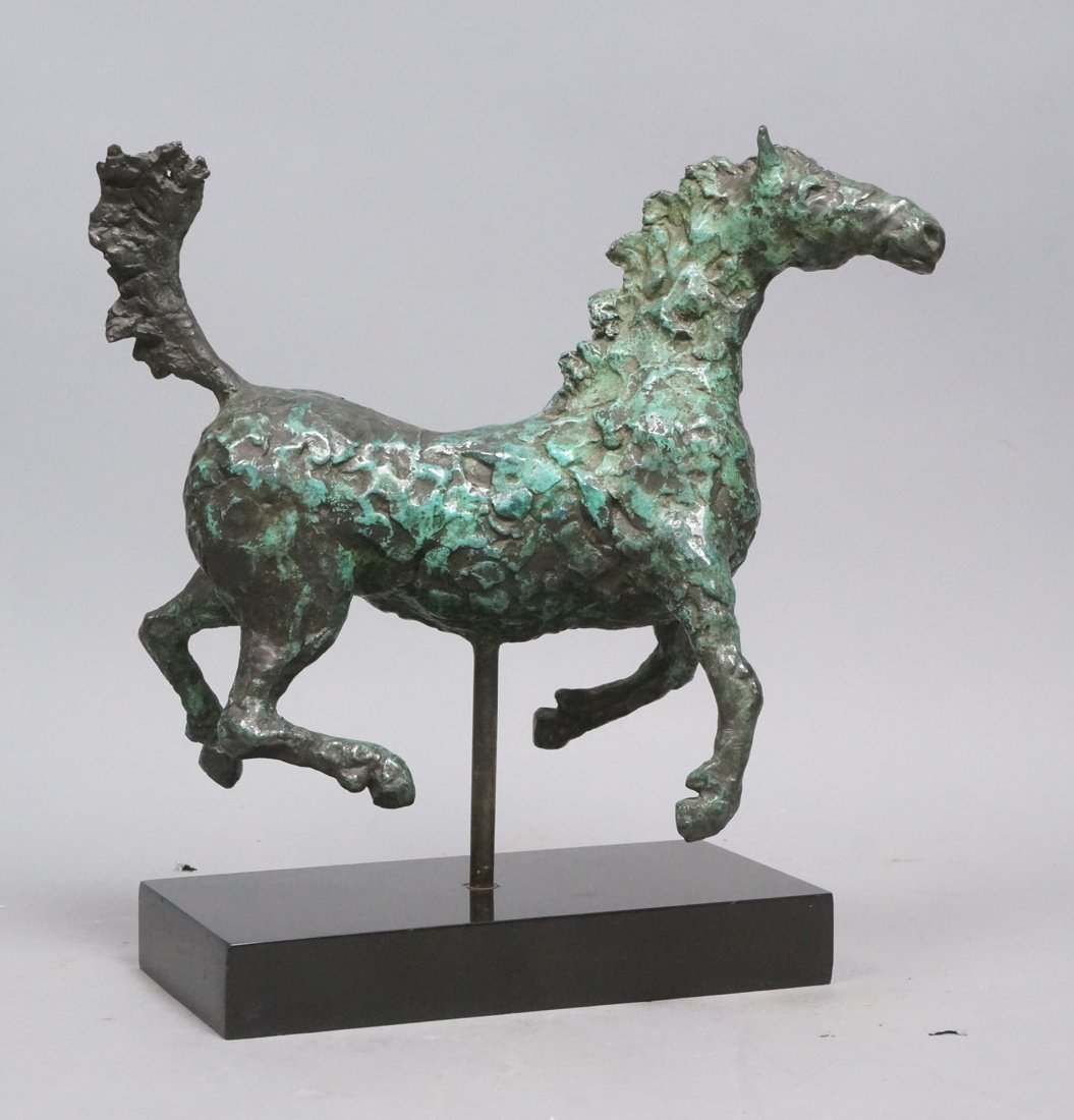 Modernist Bronze Horse Table Sculpture. Thick tex