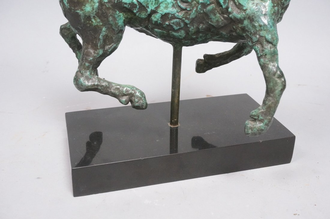 Modernist Bronze Horse Table Sculpture. Thick tex - 5
