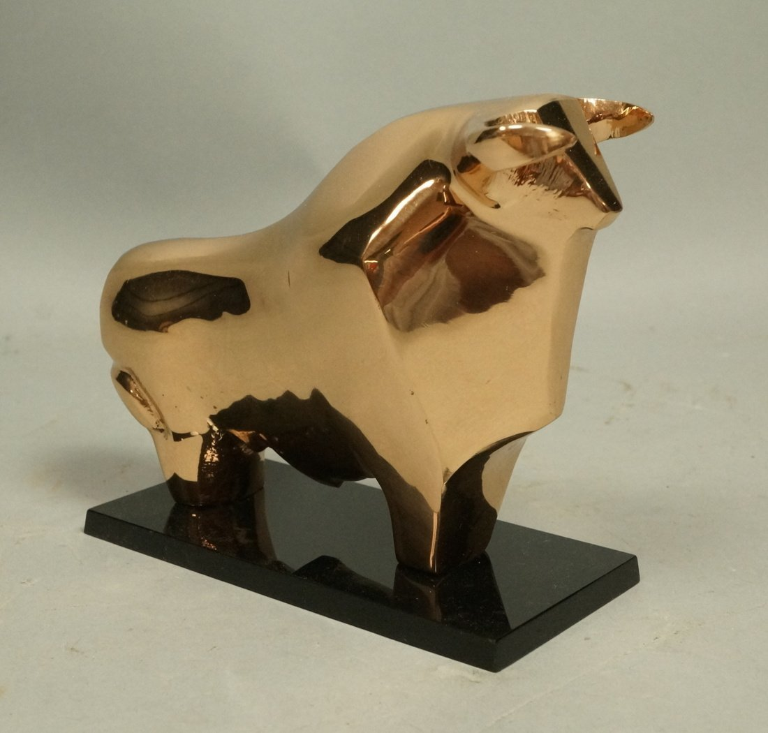 Modernist Polished Solid Bronze Bull Table Sculpture