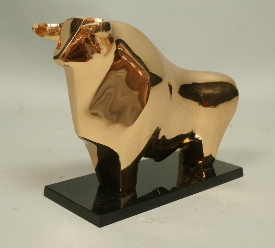 Modernist Polished Solid Bronze Bull Table Sculpture - 2