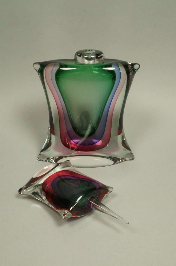 Large Pillow form Art Glass Perfume Bottle. Clear - 2