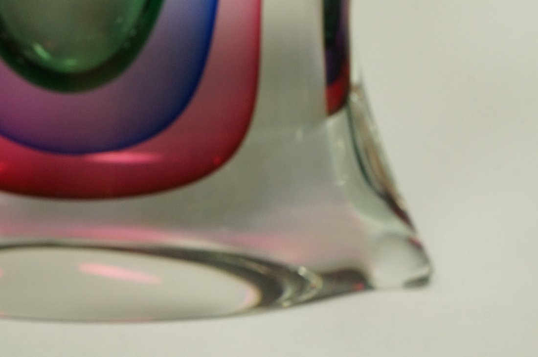 Large Pillow form Art Glass Perfume Bottle. Clear - 3