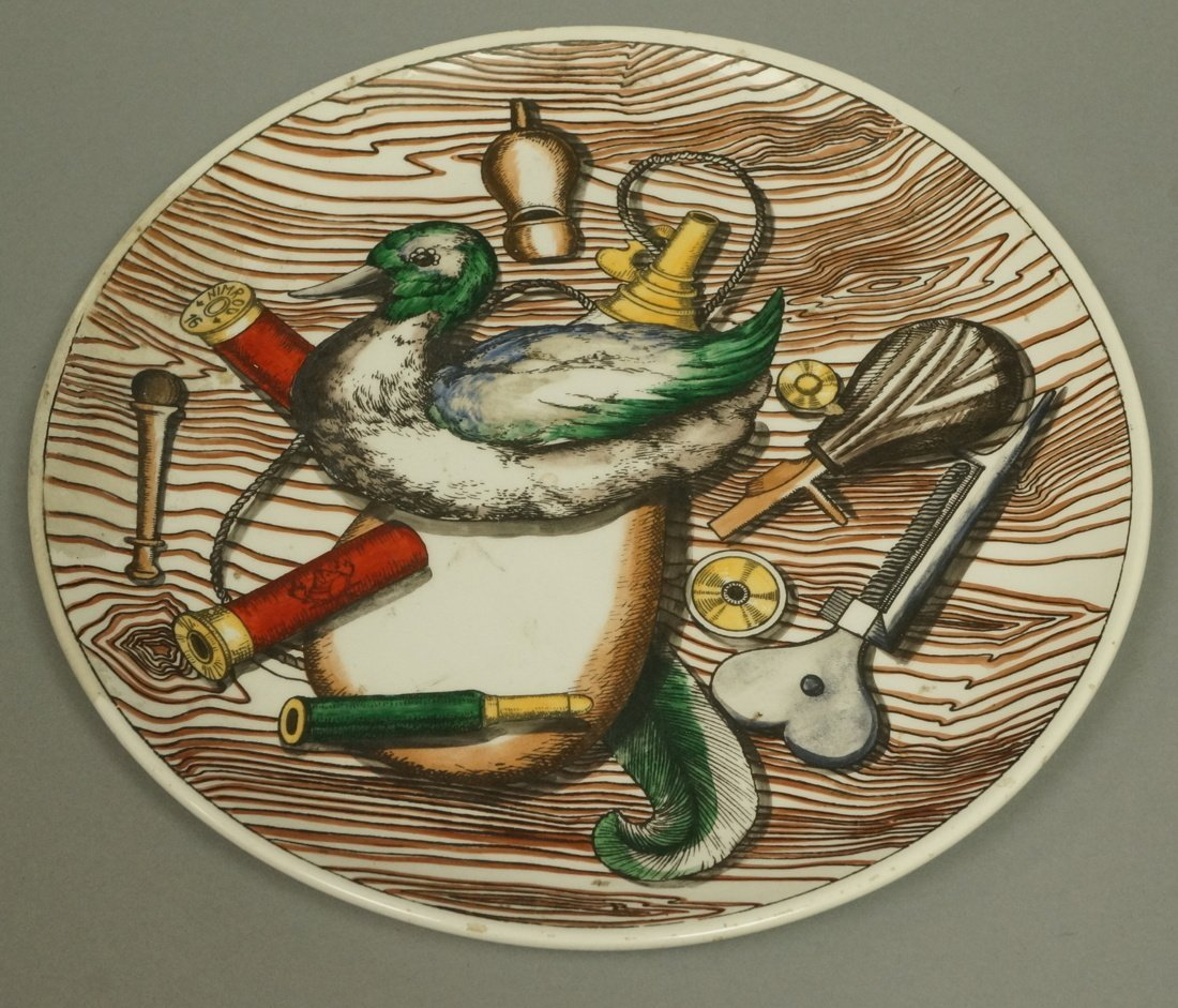 PIERO FORNASETTI Plate. Duck with hunting motifs