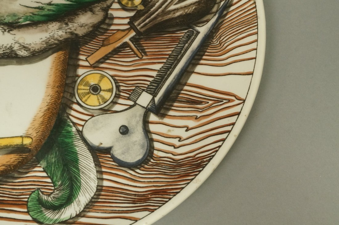 PIERO FORNASETTI Plate. Duck with hunting motifs - 4