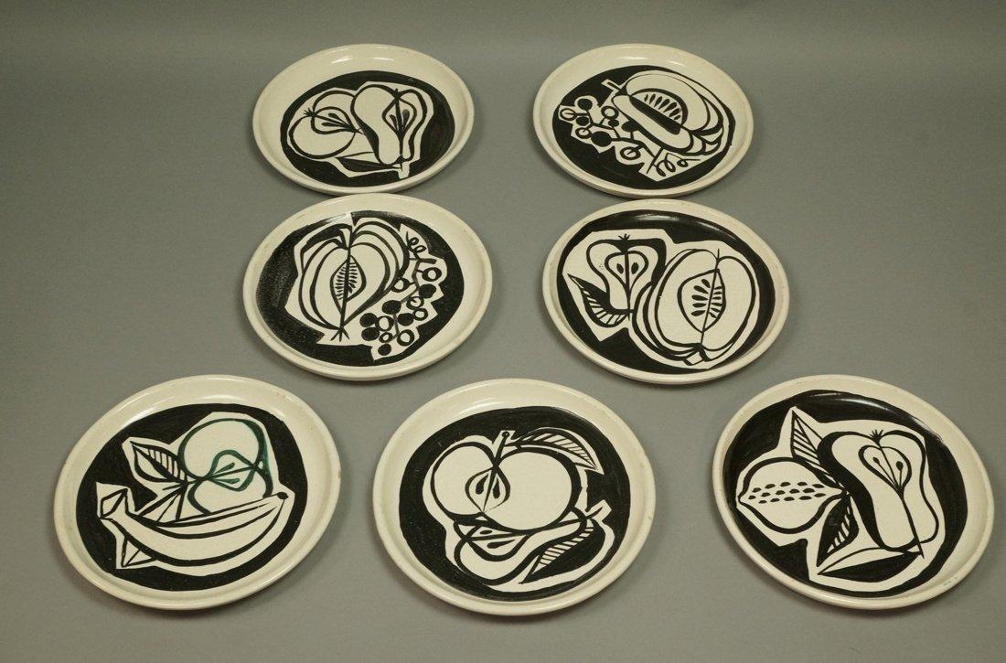 Set 7 ROGER CAPRON Vallauris Small Dishes. Cream