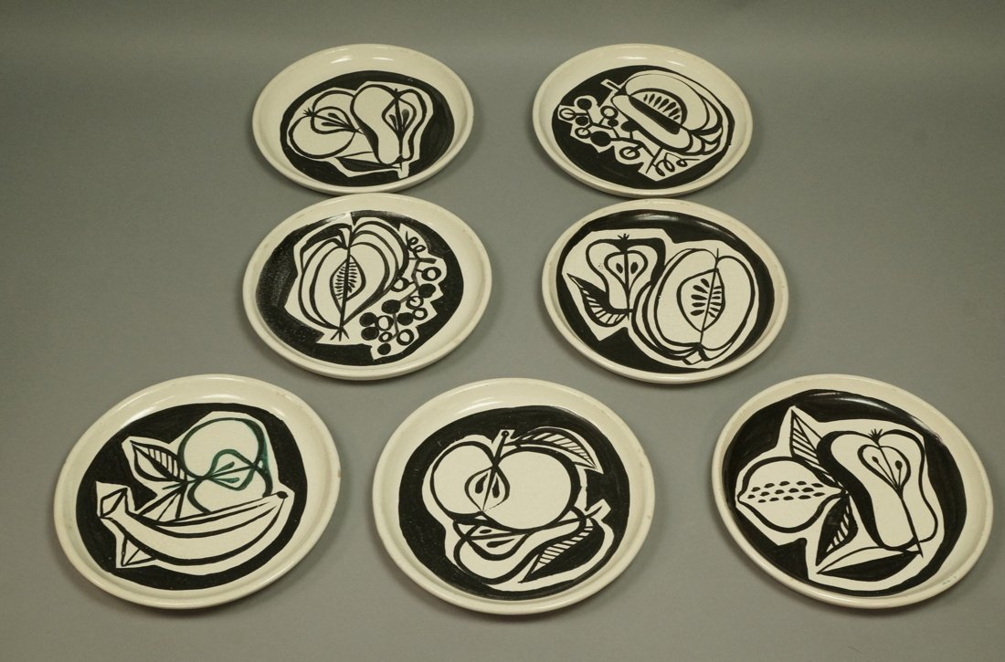 Set 7 ROGER CAPRON Vallauris Small Dishes. Cream