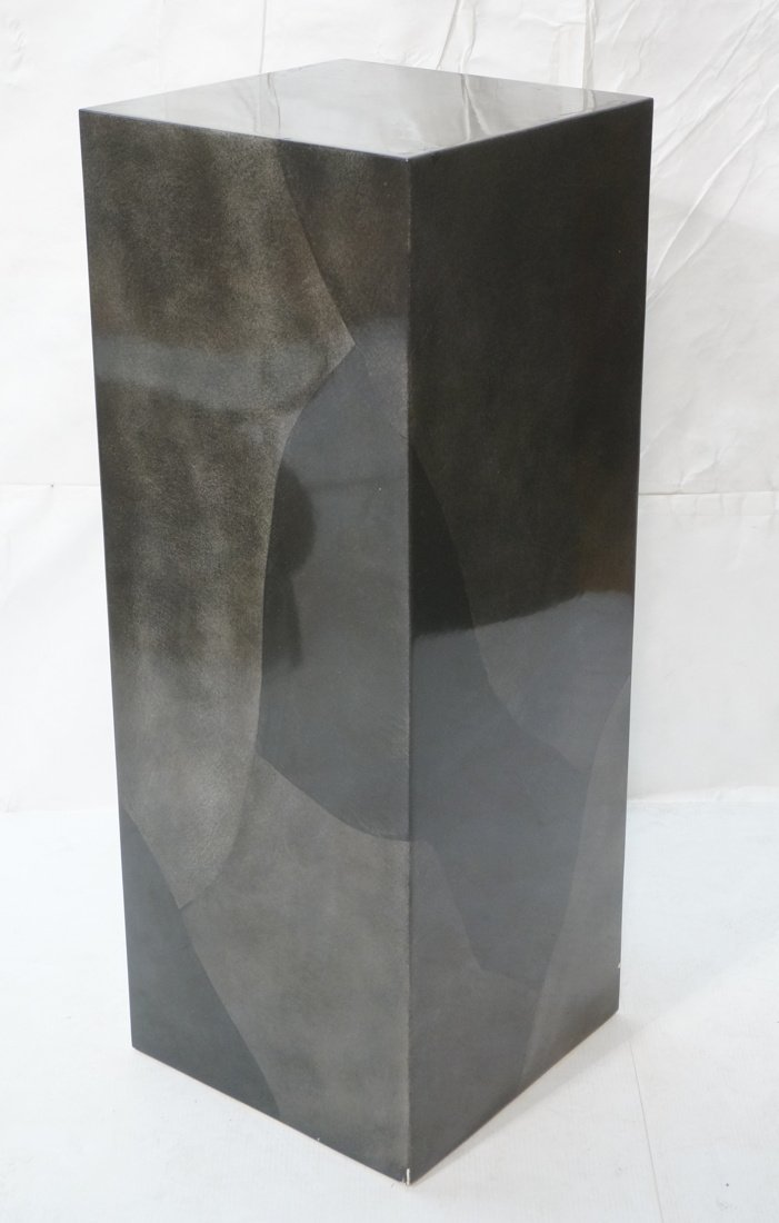 Lacquered display pedestal. Tall square column in