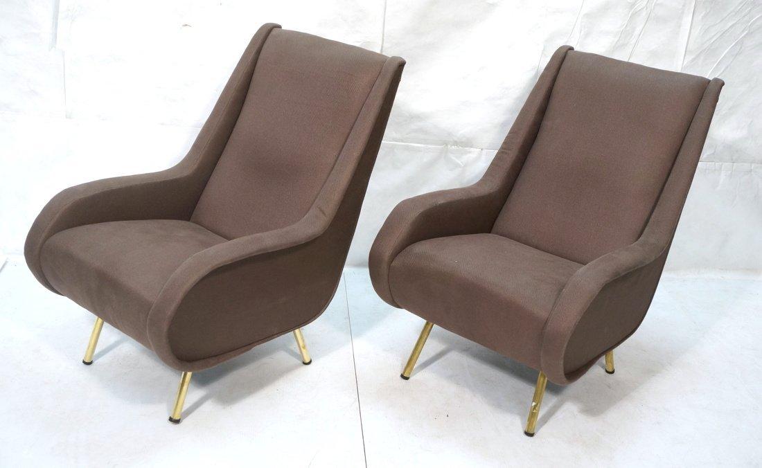 Pr Italian Heather Upholstered Modernist Lounge C