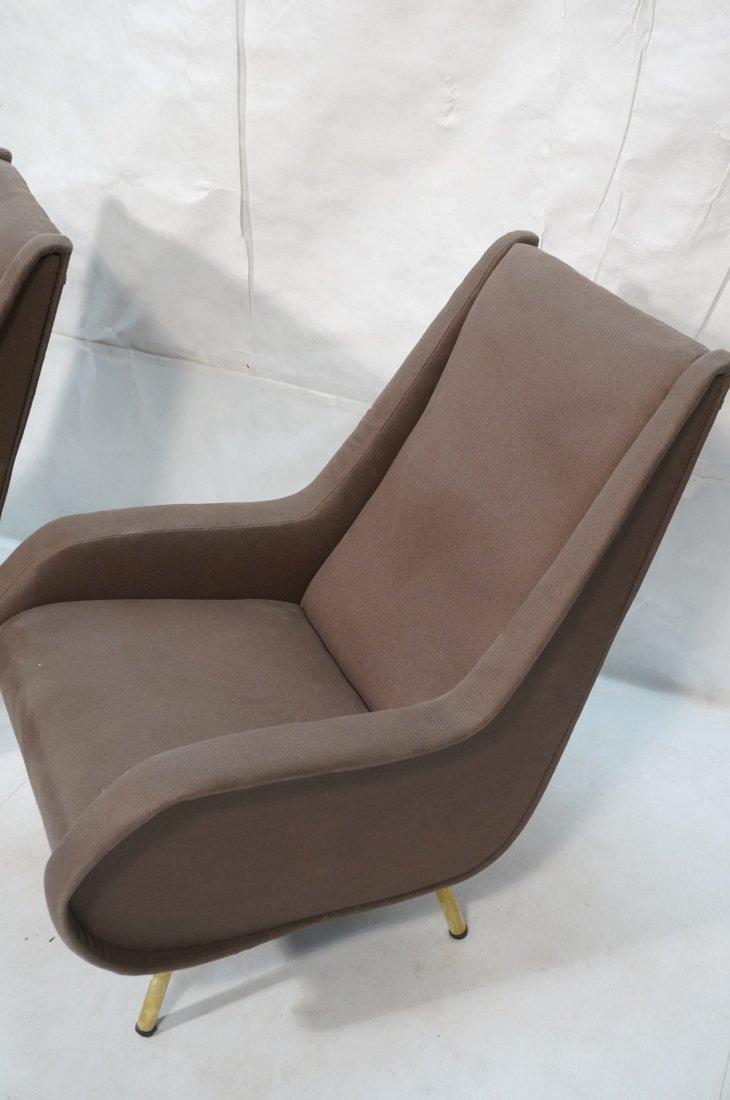 Pr Italian Heather Upholstered Modernist Lounge C - 2