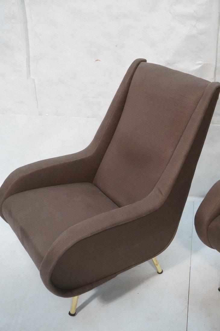 Pr Italian Heather Upholstered Modernist Lounge C - 3