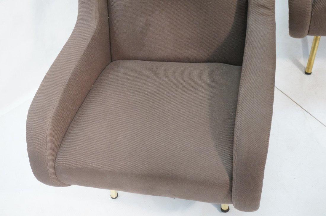 Pr Italian Heather Upholstered Modernist Lounge C - 4
