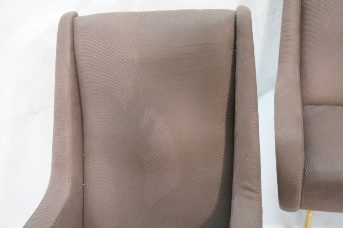 Pr Italian Heather Upholstered Modernist Lounge C - 5