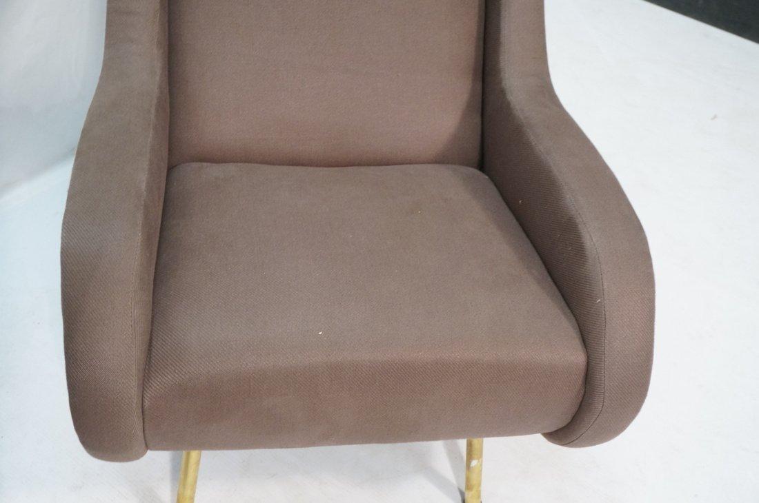 Pr Italian Heather Upholstered Modernist Lounge C - 6