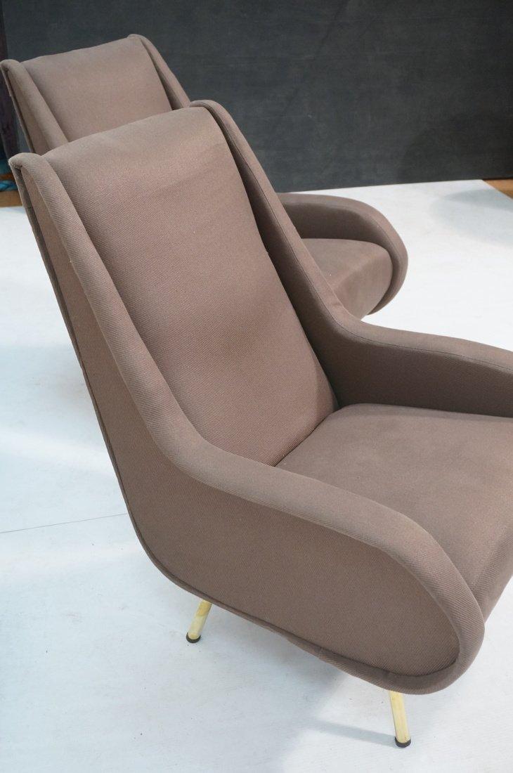 Pr Italian Heather Upholstered Modernist Lounge C - 8