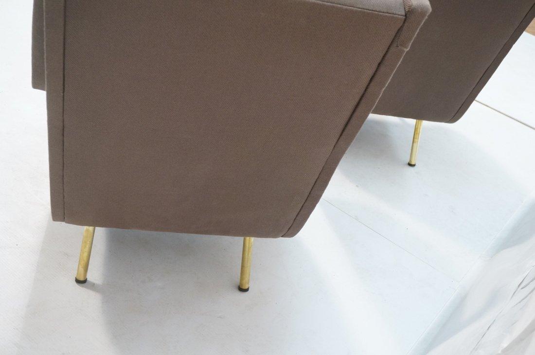 Pr Italian Heather Upholstered Modernist Lounge C - 9