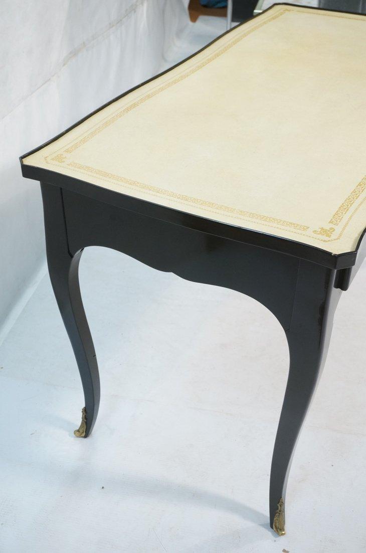 Ebonized French style Designer Desk. Cream Leathe - 2