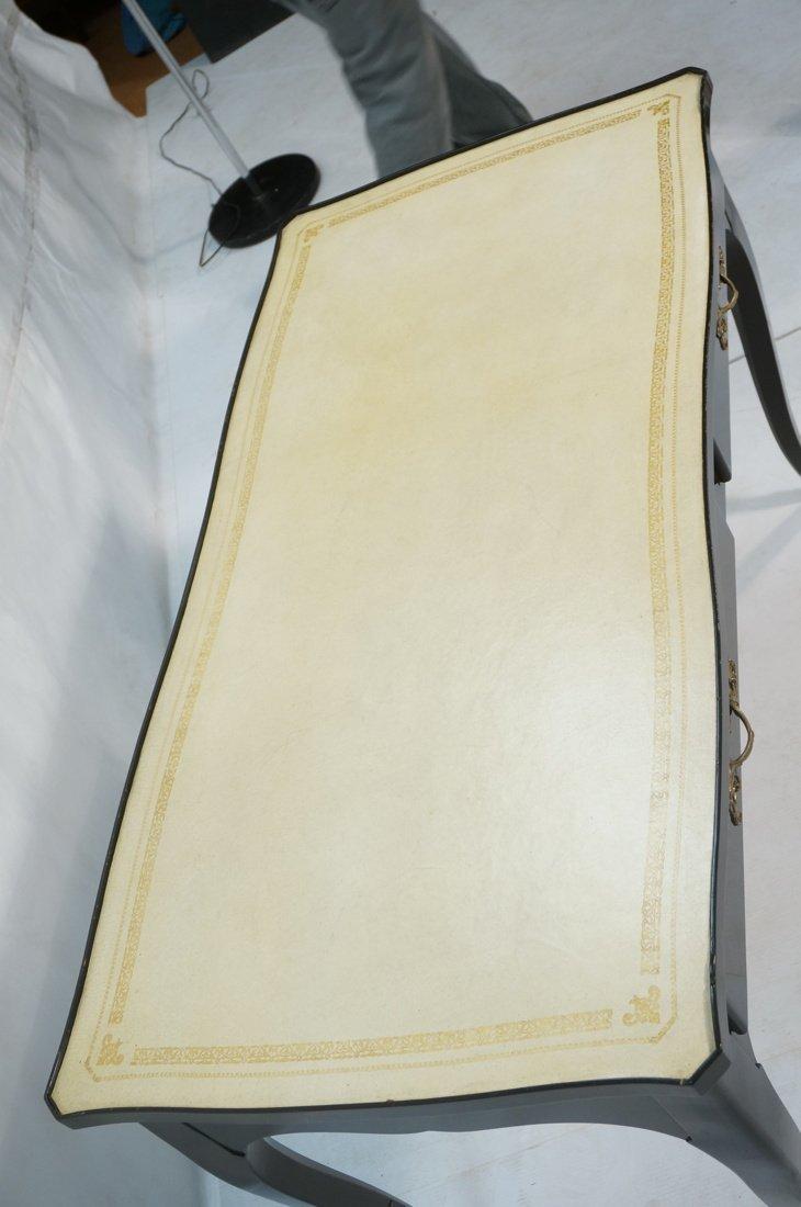 Ebonized French style Designer Desk. Cream Leathe - 3