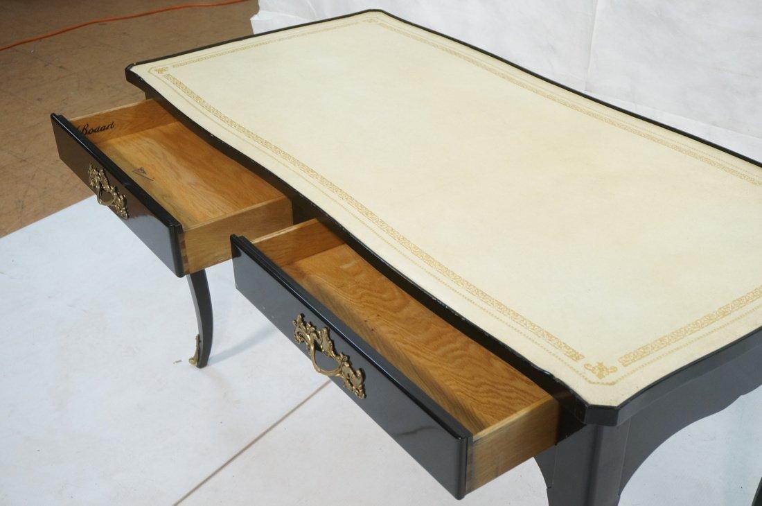 Ebonized French style Designer Desk. Cream Leathe - 5