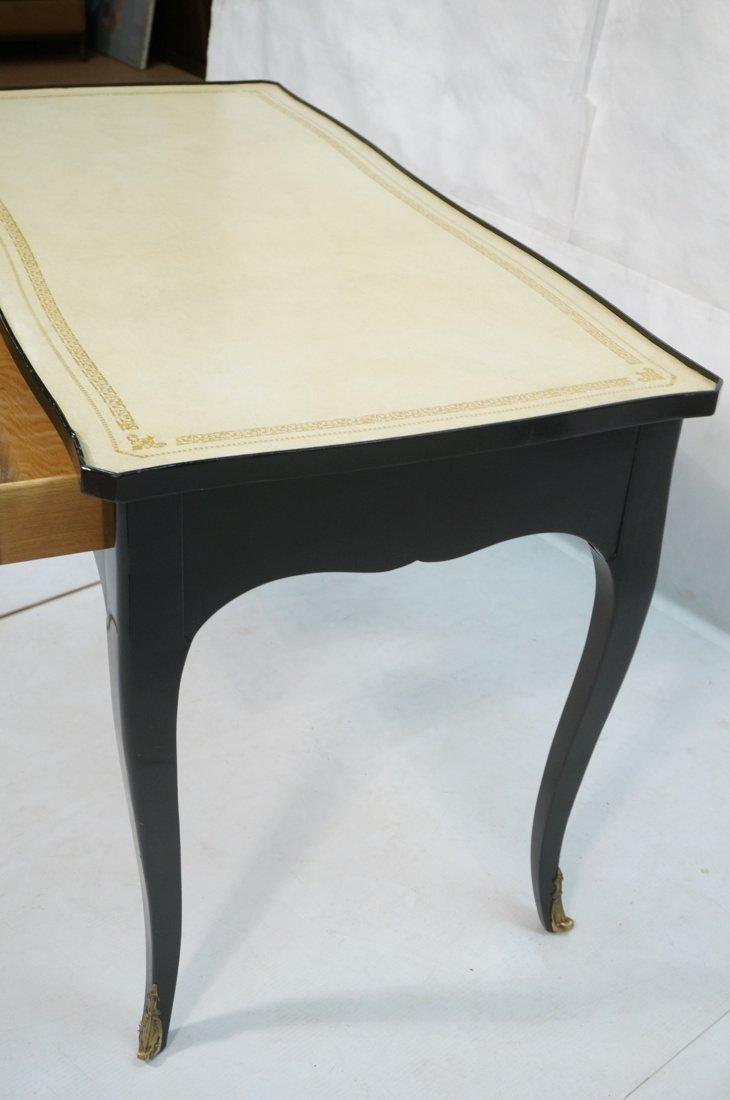Ebonized French style Designer Desk. Cream Leathe - 6