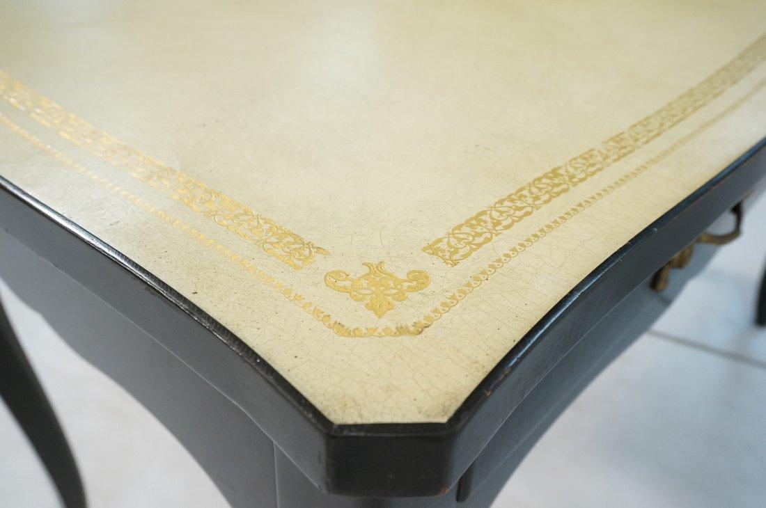 Ebonized French style Designer Desk. Cream Leathe - 8