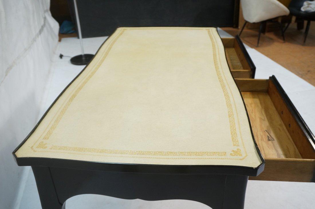 Ebonized French style Designer Desk. Cream Leathe - 9
