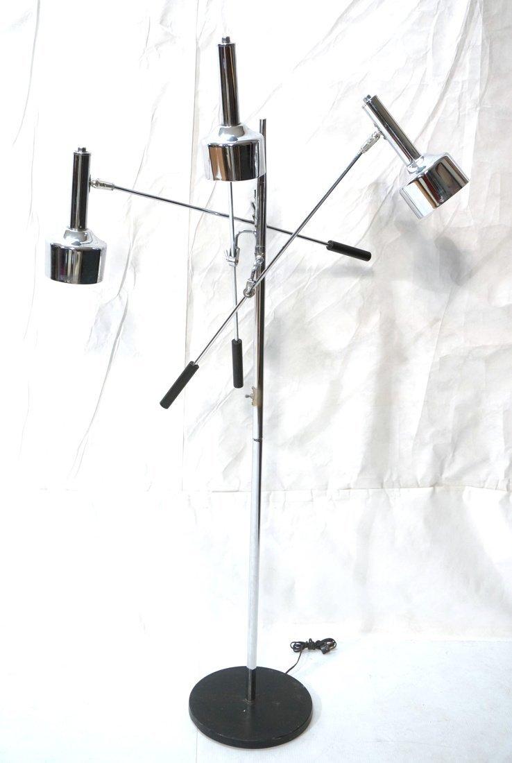 Chrome Modernist Three Arm Floor Lamp. Three rod