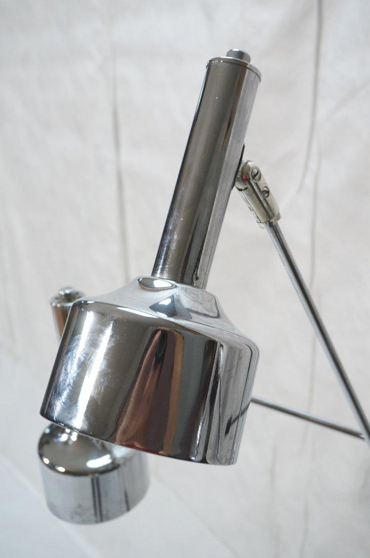 Chrome Modernist Three Arm Floor Lamp. Three rod - 4