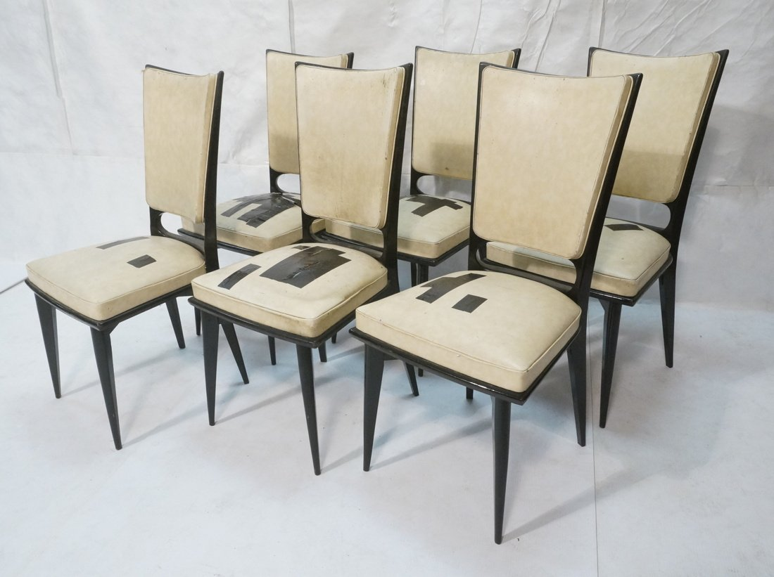 6 Italian Style Dining Chairs.  Ebonized frames.