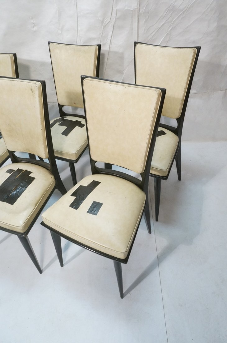 6 Italian Style Dining Chairs.  Ebonized frames. - 2