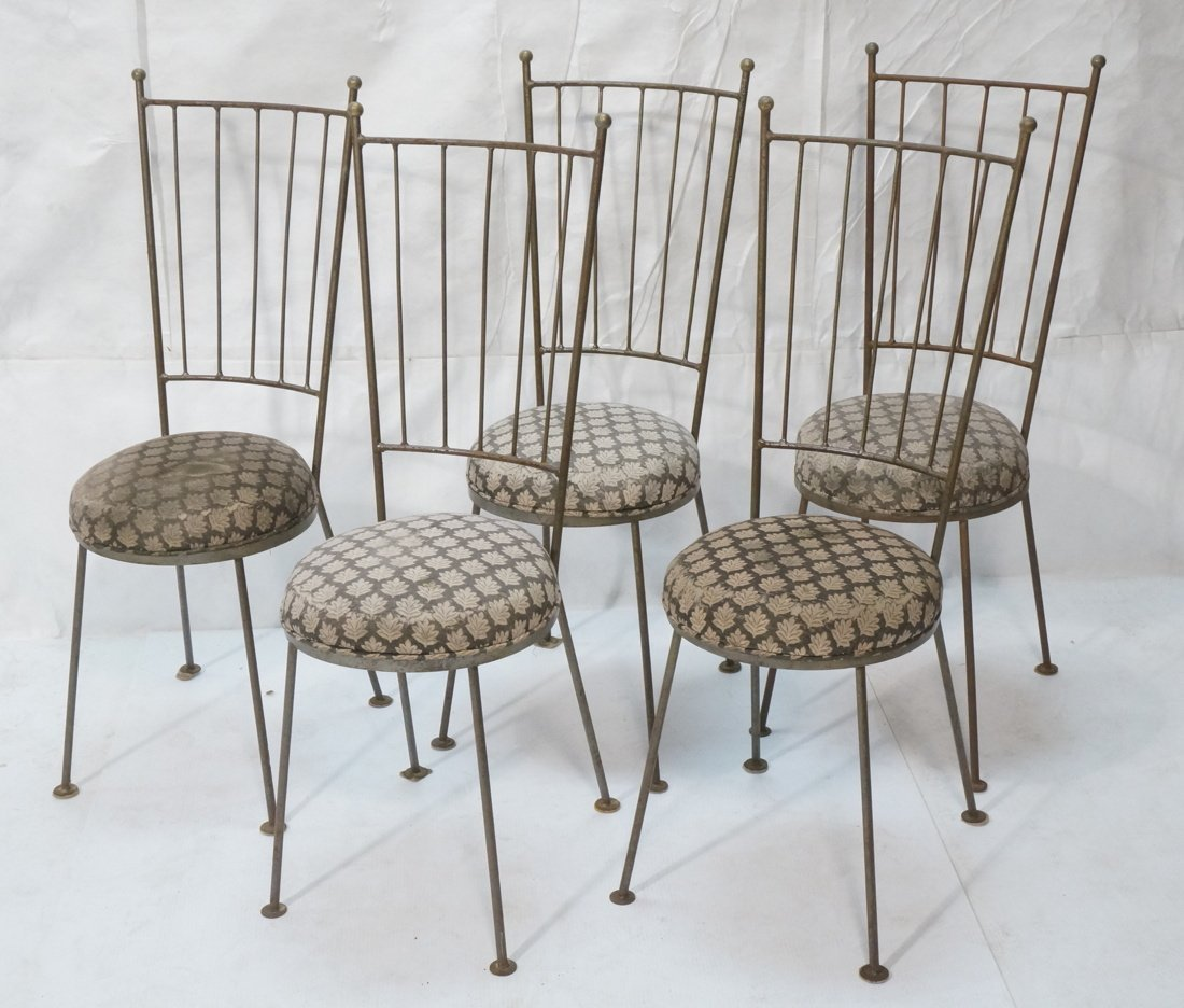 Set 5 Tall Back Iron Dining Chairs.