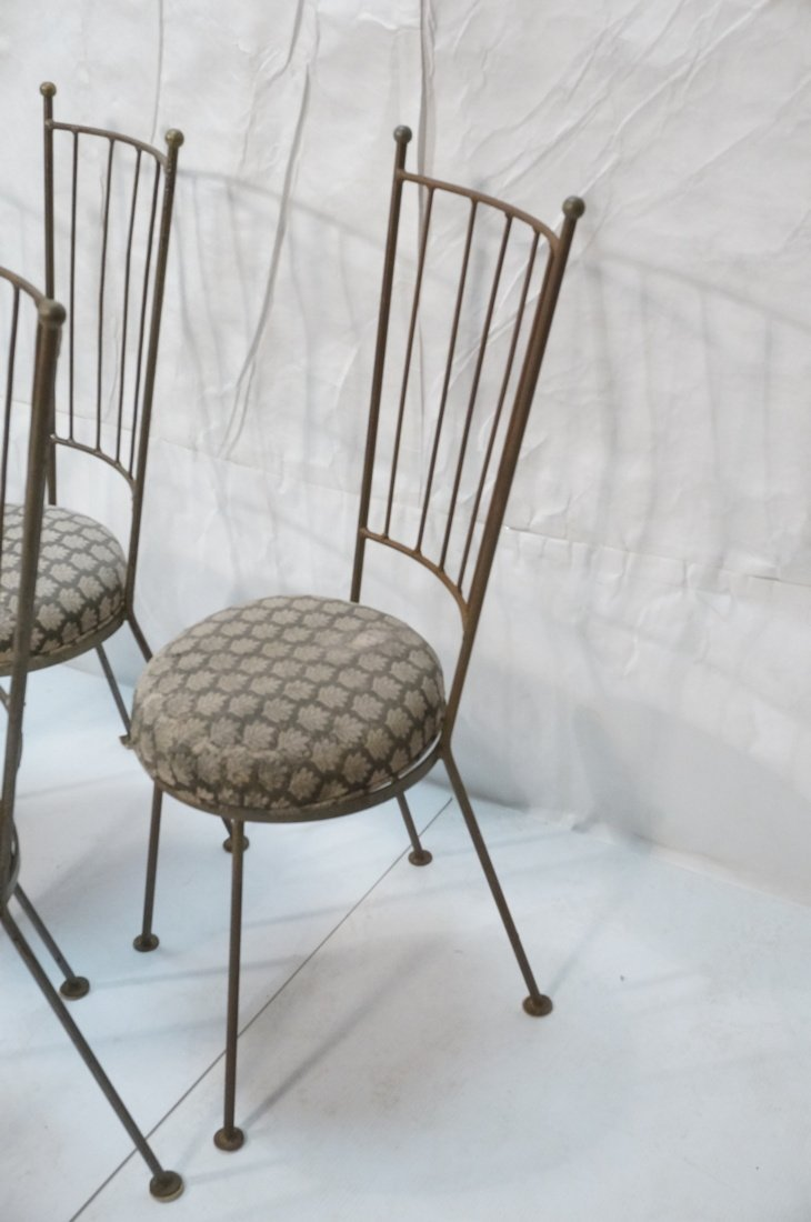 Set 5 Tall Back Iron Dining Chairs. - 4