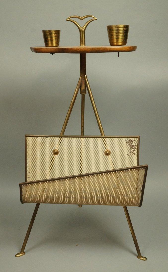 Modernist Wood & Brass Tripod Smoking Stand Magaz